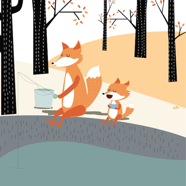 Vintage cute spring summer baby fox and dad fishing in the spring forest