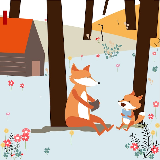 Vintage cute spring summer baby fox and dad reading book in the spring forest