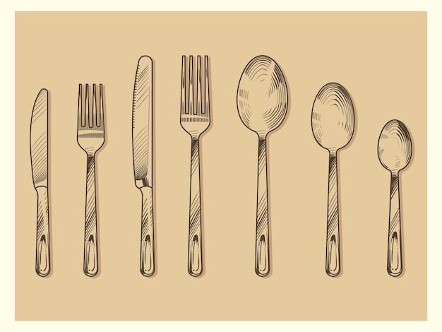 빈티지 칼 붙이 세트 벡터 디자인. 손으로 그린 칼, 포크, 숟가락 스케치 조각 스타일 절연