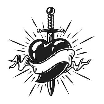 ハートのコンセプトのヴィンテージの短剣
