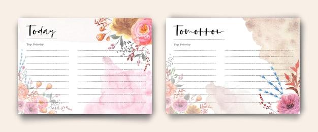 花の庭の水彩画とヴィンテージデイリーノートカード