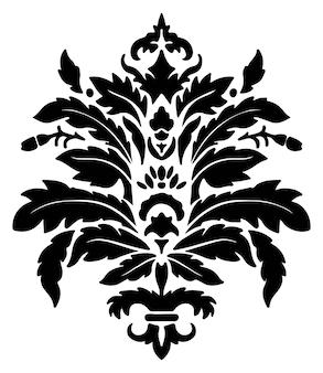 빈티지 다마스크 꽃무늬 디자인 꽃과 잎