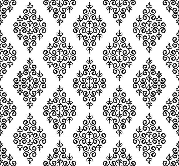 Vintage damask pattern, baroque seamless background, floral decorative wallpaper