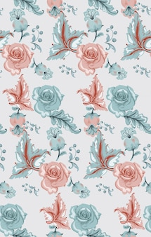 Vintage damask pattern with roses