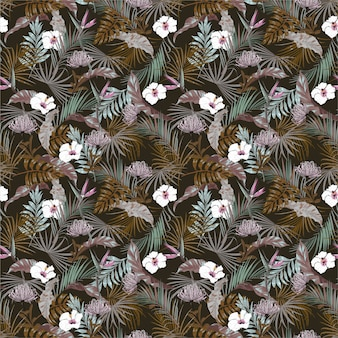 Vintage dark tropical jungles with exotic flower ,hibiscus floral seamless pattern