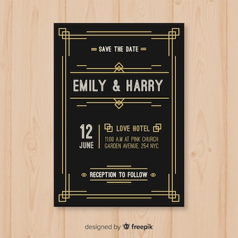 Vintage dark wedding invitation template in art deco design