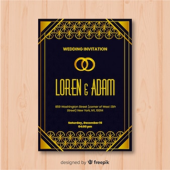 Vintage dark wedding invitation template in art deco style