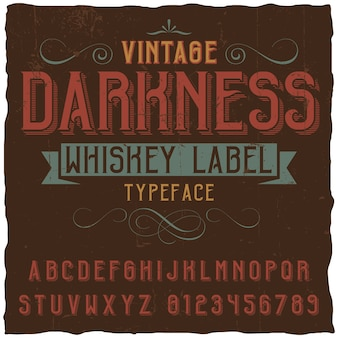 Vintage darkness whiskey label