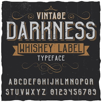 Vintage darkness whiskey poster with decoration and ribbon in vintage font