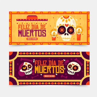 Vintage day of the dead banner template