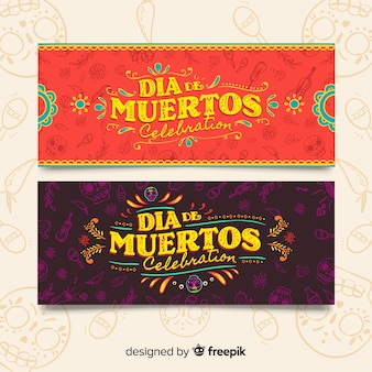 Vintage day of the dead banners