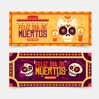 Винтажный день мертвых баннеров