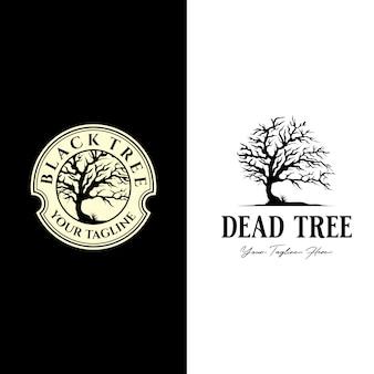 Vintage dead tree logo , alone bird silhouette design illustration
