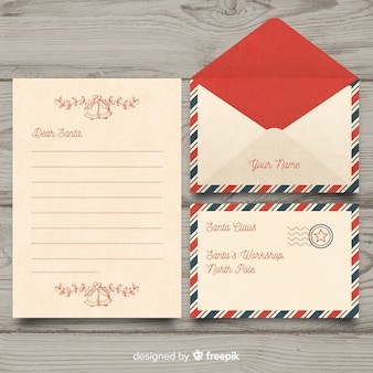 Vintage dear santa christmas letter and envelope set