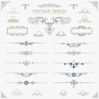 Vintage decor elements set