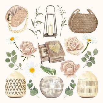 家の装飾と花を持つヴィンテージ装飾セット
