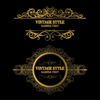 Vintage decorations elements and frames gold color
