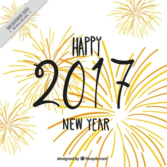 Vintage decorative background of new year 2017 with fireworks