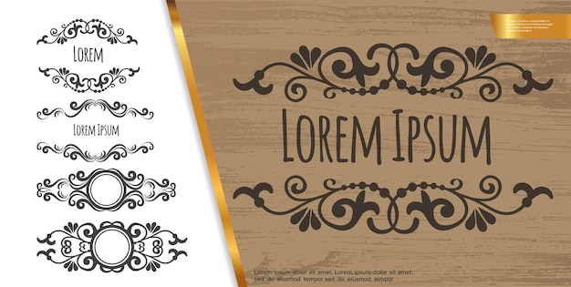 Vintage decorative design elements composition with elegant swirls text dividers and vignettes