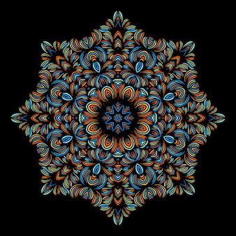 東洋のパターンを持つヴィンテージの装飾的な要素。ヨガのテンプレート。マンダラ。イスラム教、アラビアのインドのトルコおよびパキスタンの文化。ベクトルイラスト。