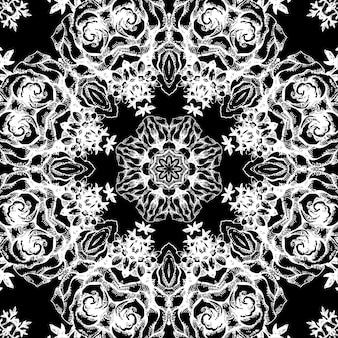 빈티지 장식 레이스 라운드 패턴입니다. 바로크 스타일의 꽃 장식입니다. 장미와 손으로 그린 그림