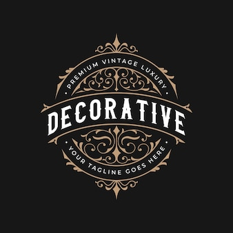 Vintage decorative luxury ornamental frame logo