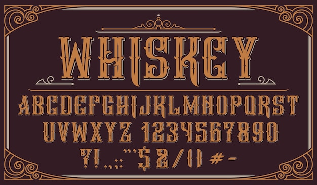 Vintage decorative typeface. perfect for alcohol labels, logos, shops,headlines, posters and many other uses.