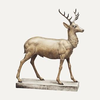 Винтажная иллюстрация фигуры оленя, ремикс из иллюстрации элизабет фульда