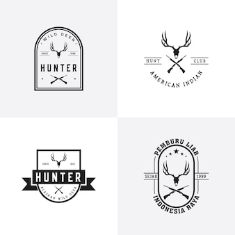 Vintage deer hunter logo design set