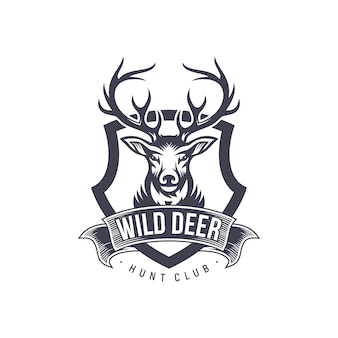 Vintage deer hunter logo design
