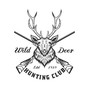 Vintage deer hunting and adventure emblem badge