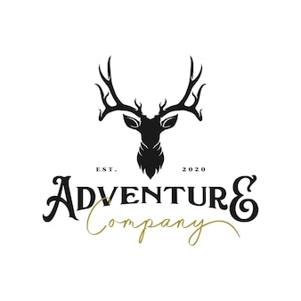 Vintage deer logo and  icon