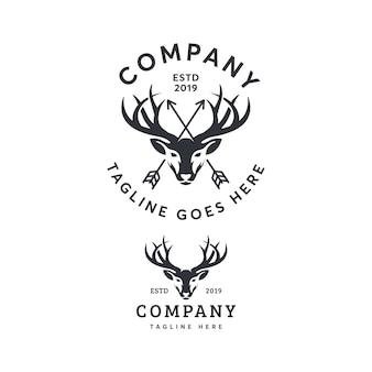 Vintage deer logo template ilustration icon