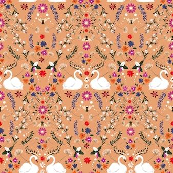 白い白鳥とバンブルビーファンタジーシームレスパターンベクトルデザイン、ファッション、ファブリック、テキスタイル、壁紙、カバー、ウェブ、ラッピング、レトロなオレンジ色のすべてのプリントのヴィンテージ繊細な小さな花