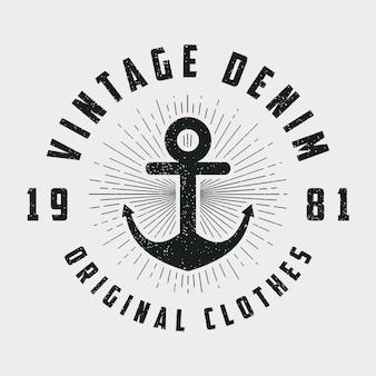 Vintage denim print for tshirt original clothes design with anchor and line sunburst
