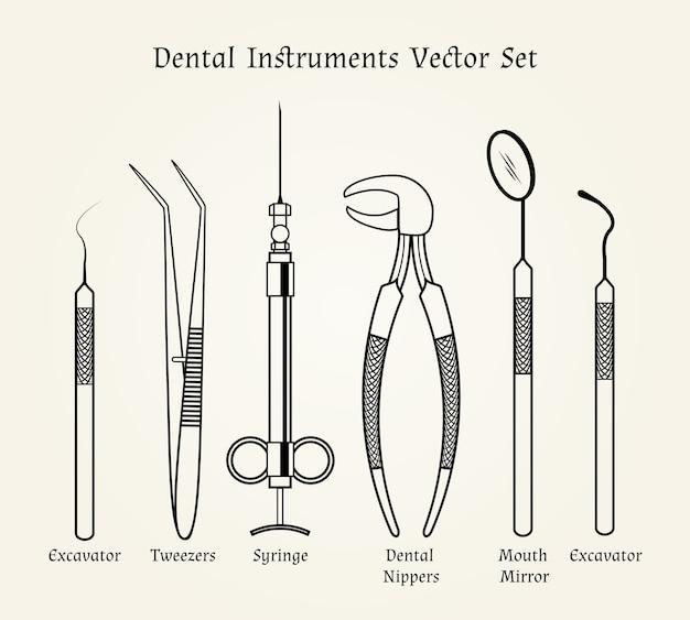 Винтажные инструменты стоматолога. медицинское оборудование в стиле ретро.