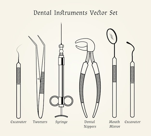 Vintage dentist tools. medical equipment in retro style.