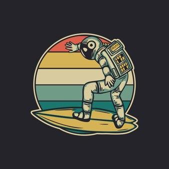 レトロなヴィンテージイラストをサーフィンするヴィンテージデザインの宇宙飛行士