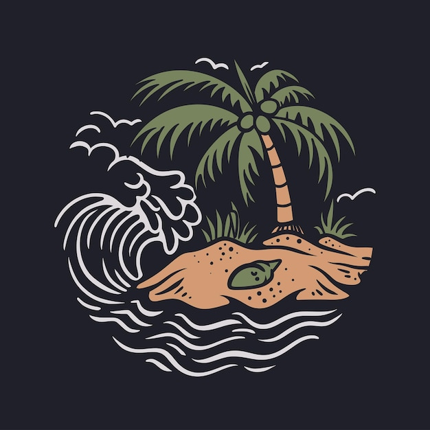 Vintage design beach with coconut tree and waves vintage illustration