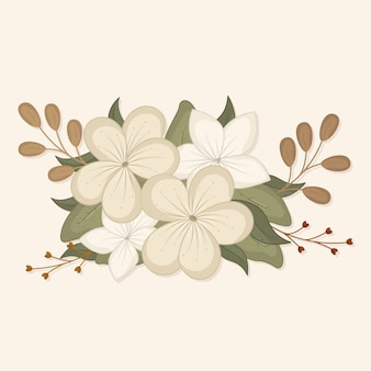 Vintage design bouquet with white flowers