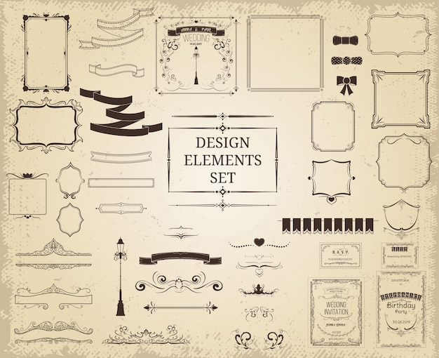 Vintage design elements collection