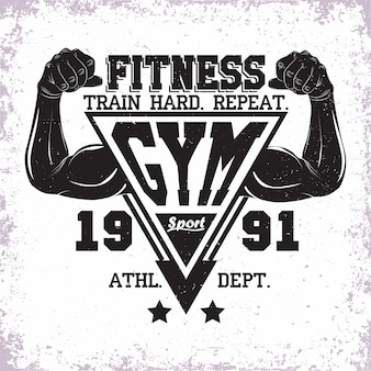 Vintage   design,  grange print stamp, fitness typography emblem,  gym sports logo creative design