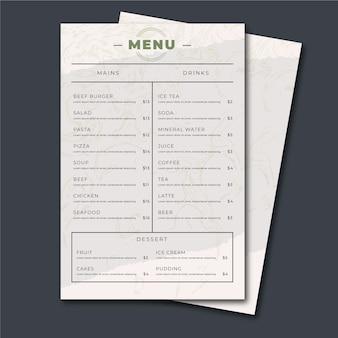 Vintage design healthy food menu