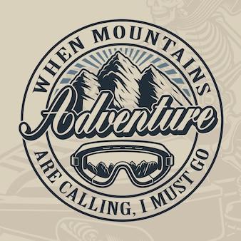 산과 밝은 배경에 스키 안경 겨울 스포츠 테마의 빈티지 디자인.