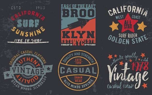 티셔츠 스탬프, 티 아플리케, 패션 타이포그래피, 배지, 라벨 의류, 청바지, 캐주얼웨어를 위한 빈티지 디자인 인쇄. 벡터 일러스트 레이 션. 프리미엄 벡터