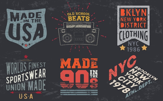 티셔츠 스탬프, 티 아플리케, 패션 타이포그래피, 배지, 라벨 의류, 청바지, 캐주얼웨어를 위한 빈티지 디자인 인쇄. 벡터 일러스트 레이 션.