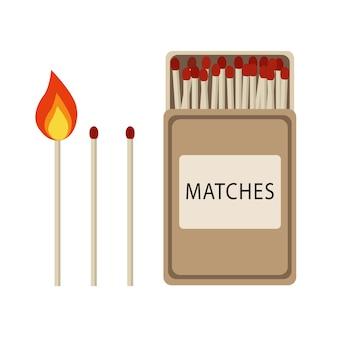 マッチのビンテージデザインセットバーニングマッチマッチ棒とフラットスタイルのマッチ箱