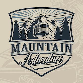 Vintage design of a ski lift with mountains on light background.
