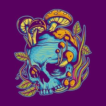 Vintage design skull with mushroom vintage illustration