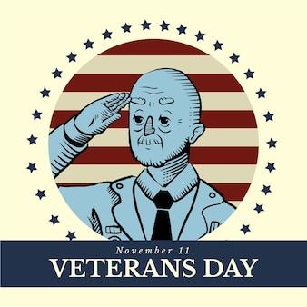 ビンテージデザインの退役軍人の日のお祝い